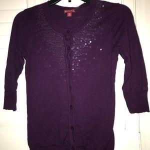 Merona XS Purple sequined 3/4 sleeve cardigan
